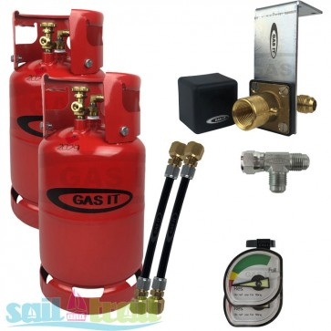 GAS IT Twin 11Kg Refillable LPG Cylinder In Locker Fill Point GI-GI-TWIN-11KG-IN-GAU-31