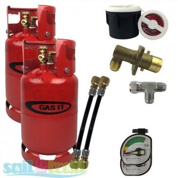 GAS IT Twin 6Kg Refillable LPG Bottle White External Fill Point GI-TWIN-6KG-WH-T-GUA-31