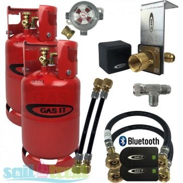 GAS IT Twin 11Kg Refillable LPG Bottle In Locker Fill Point + Auto Changeover + Bluetooth Sensor GI-GI-TWIN-11KG-IN-PT-T-BT-CO-30