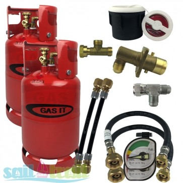 GAS IT Twin 6Kg Refillable LPG Cylinder Kit White External Fill Point and Pigtails GI-TWIN-6KG-WH-GAU-PT-31