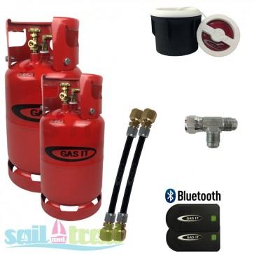 Gas IT 6 and11Kg Twin Bottle Kit External White Filler Point + Bluetooth Level Sensor GI-6KG-11KG-WH-BT-31