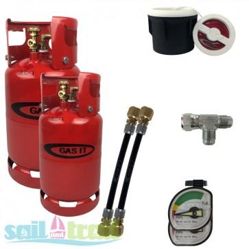 Gas IT 6and11Kg Twin Bottle Kit External White Filler Point GI-6KG-11KG-WH-31