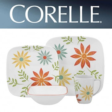 Corelle Happy Days Square 16 Piece Square Dinner Set COR-HAPPY-DAYS-16PC-31