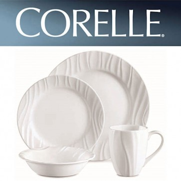 Corelle Swept 16 Piece Dinner Set White Relief Design COR-SWEPT-16PC-31