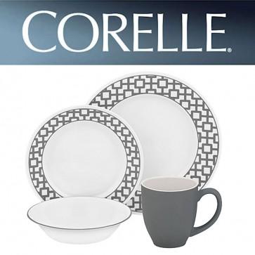 Corelle Urban Grid 16 Piece Dinner Set Grey Pattern COR-URBAN-GRID-16PC-31