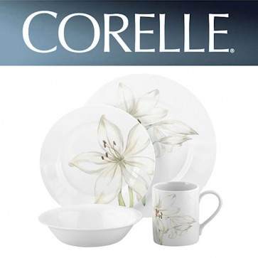 Corelle White Flower 16 Piece Wide Rim Dinner Set COR-WHITE-FLOWER-16PC-31
