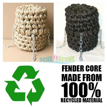 Long Button Polypropylene Rope Fender Black or Natural Colour Narrowboat Canal Narrow Boat Barge FEN-LONG-BUTTON-31