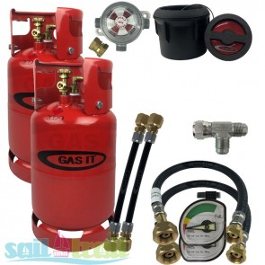 GAS IT Twin 11Kg Refillable LPG Bottle Black External Fill Point + Auto Changeover GI-GI-TWIN-11KG-BK-PT-T-GUA-CO-20