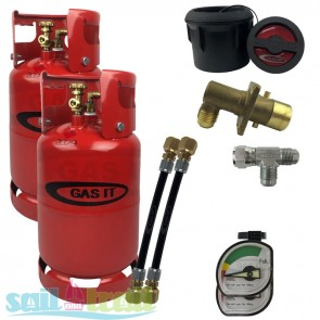 GAS IT Twin 11Kg Refillable LPG Cylinder Black External Fill Point GI-GI-TWIN-11KG-BK-GAU-20