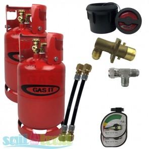 GAS IT Twin 6Kg Refillable LPG Bottle Black External Fill Point GI-TWIN-6KG-BK-T-GUA-20