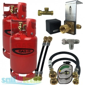 GAS IT Twin 11Kg Refillable LPG Cylinder In Locker Fill Point and Pigtails + Tee Piece GI-GI-TWIN-11KG-IN-GAU-PT-T-20
