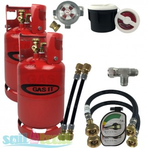 GAS IT Twin 11Kg Refillable LPG Bottle White External Fill Point + Auto Changeover GI-TWIN-11KG-WH-PT-T-GUA-CO-20