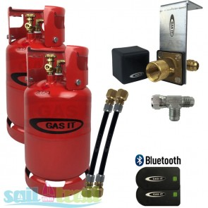 GAS IT Twin 11Kg Refillable LPG Cylinder Bottle In Locker Fill Point + Bluetooth Sensor GI-GI-TWIN-11KG-IN-PT-T-20