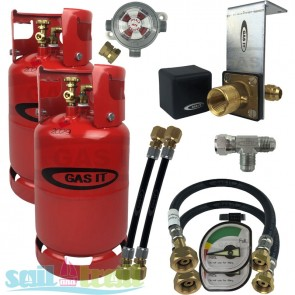 GAS IT Twin 11Kg Refillable LPG Bottle In Locker Fill Point + Auto Changeover Valve GI-GI-TWIN-11KG-IN-PT-T-GUA-CO-20