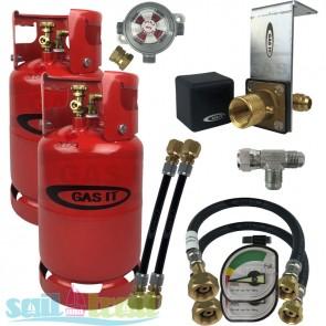 GAS IT Twin 6Kg Refillable LPG Bottle In Locker Fill Point + Auto Changeover Valve GI-TWIN-6KG-IN-PT-T-GUA-CO-20