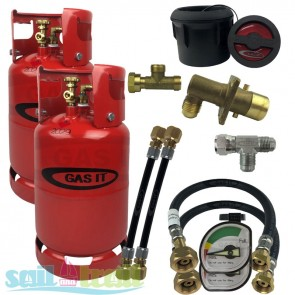 GAS IT Twin 11Kg Refillable LPG Cylinder Kit Black External Fill Point and Pigtails GI-TWIN-11KG-BK-GAU-PT-20