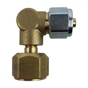 90and#176; Angled Elbow Compression Fitting 3/4-16UNF/SAE to 8mm Thermoplastic Pipe GI-90-COMP-20