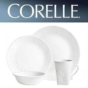 Corelle Cherish Round 16 Piece Dinner Set White Relief Pattern COR-CHERISH-ROUND-16PC-20