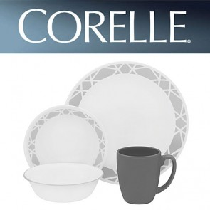 Corelle Modena 16 Piece Dinner Set Grey Pattern-Chip/Break Resistant Dinnerware COR-MODENA-16PC-20