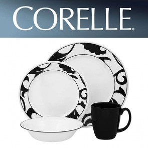 Corelle Noir 16 Piece Wide Rim Dinner Set Black Print COR-NOIR-16PC-20