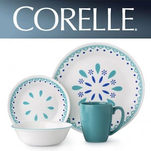 Corelle Santorini Sky 16 Piece Vitrelle Glass Dinner Set COR-SANTORINI-SKY-16PC-20
