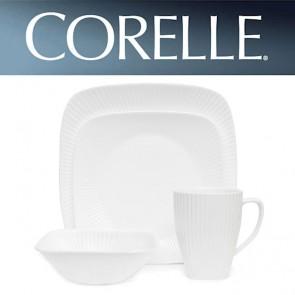 Corelle Sol Square 16 Piece Dinner Set White Ridged Lines COR-SOL-SQUARE-16PC-20