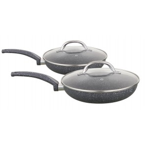 Cooklites Petra stone 20 and 24cm Fry pan with glass lids Cooklite20and24cmfryingpanset-20