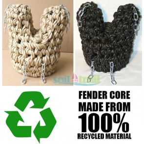 V Bow Polypropylene Rope Fender Black or Natural Colour Narrowboat Canal Narrow Boat Barge FEN-V-BOW-20