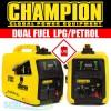 Champion 82001i-E-DF 2Kw Dual Fuel LPG/Petrol Inverter Suitcase Generator