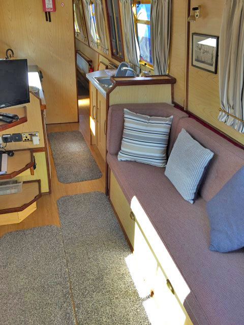 Dawn Mist Narrow Boat Living Room